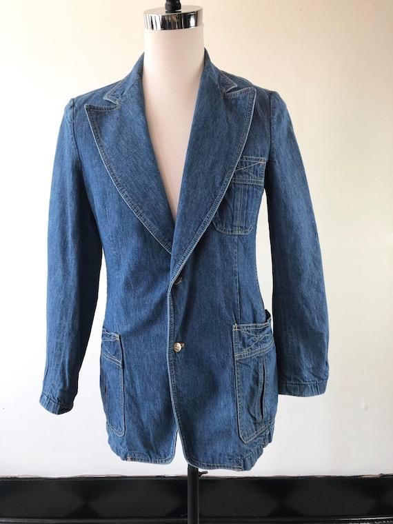 1970's Lee Denim Blazer Jacket S - image 4