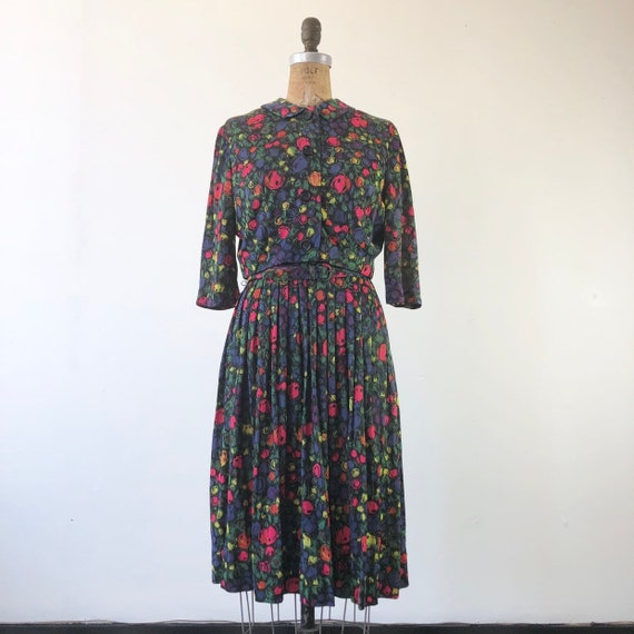 CUTE 1960s Floral Belted Two Piece Dress Set M - image 2
