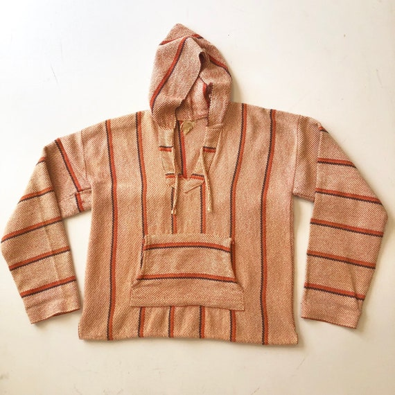 1970s Orange Cotton Mexican Hoodie M