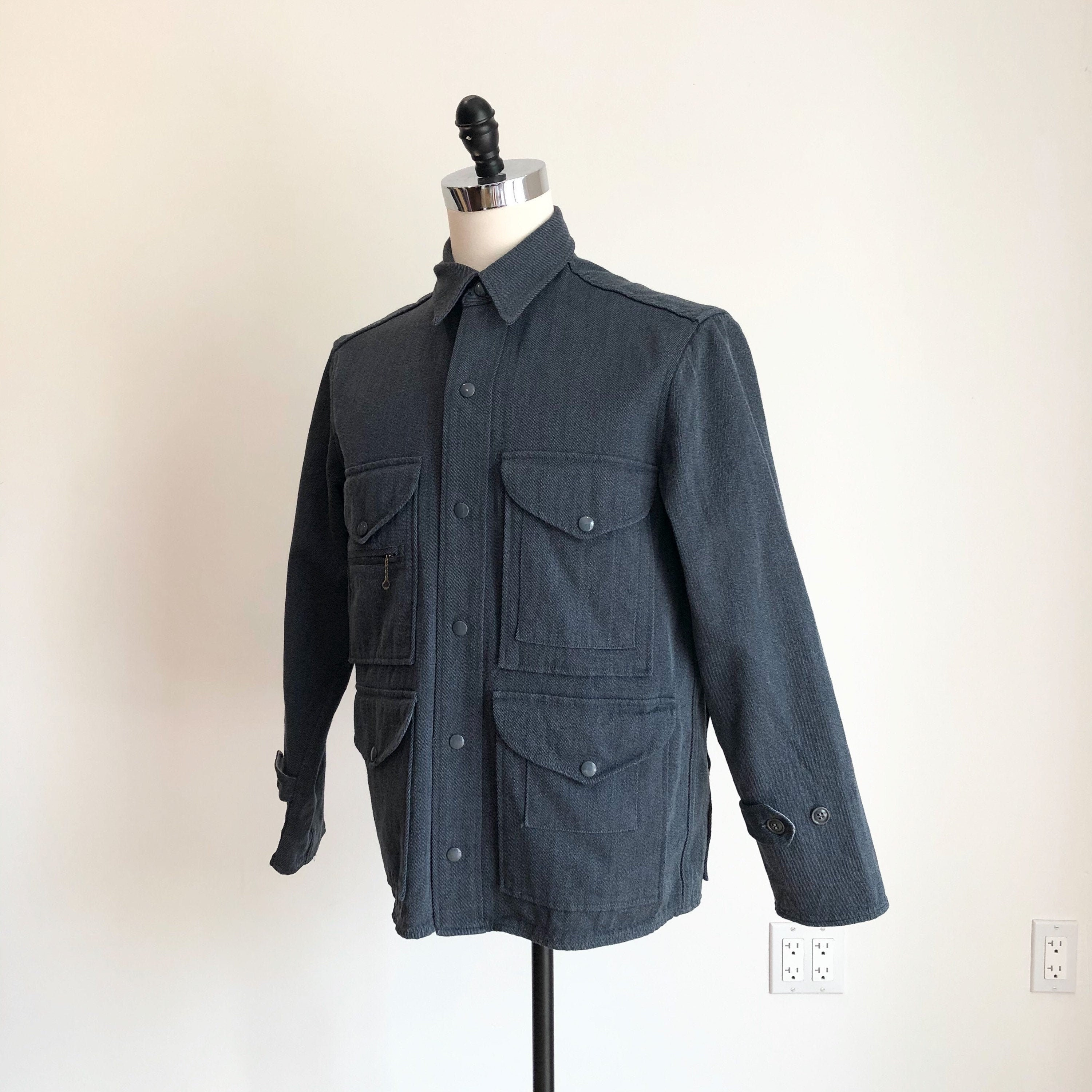 1940s Jewelry Styles and History 1940S Blue Grey Whipcord Mackinaw Jacket M $202.50 AT vintagedancer.com