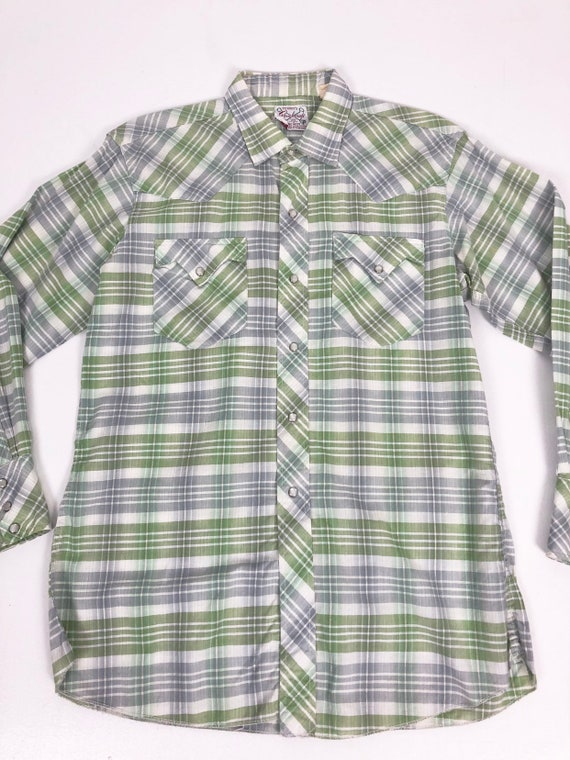 50's Ranchcraft Green Plaid Western Shirt S - image 5