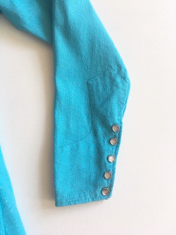 1950s Miller Western Wear Turquoise Cotton Wester… - image 8