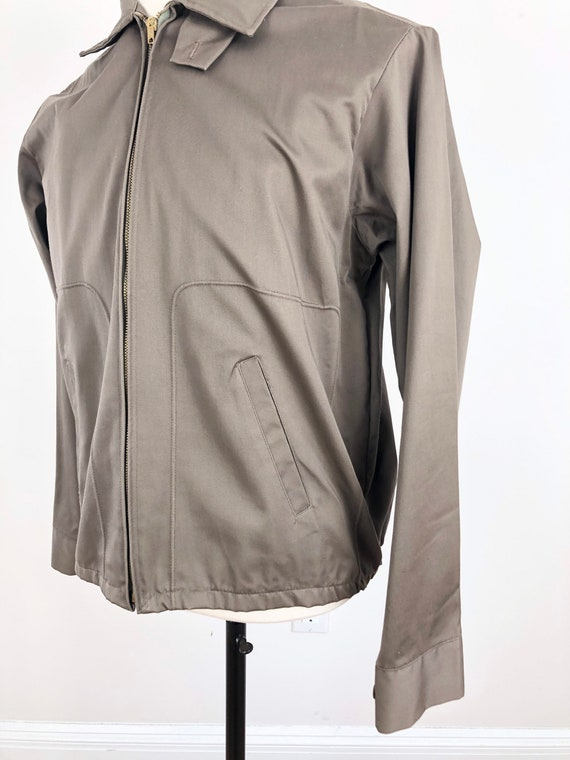 1950s Taupe Grey Cotton Zip Up Ricky Jacket M - image 3