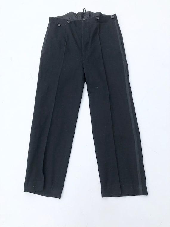 """1940s Black Wool Tuxedo Pants Trousers 33"""""""