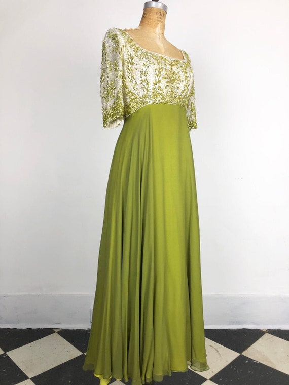1960's Rappi Green Chiffon Sequin Gown S