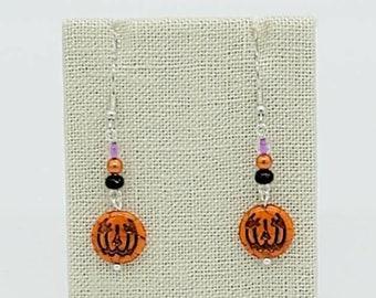 Jack o' lantern Halloween Earrings Pumpkin Earrings