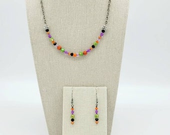 Trick or Treating Necklace and Earring Set Halloween Jewelry Set