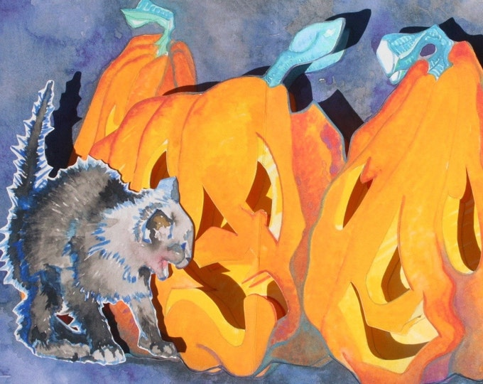 3D PopUp Card of Halloween Pumpkins and Frightened Black Cat Kitten  with Gouache Illustrations and Handmade Construction