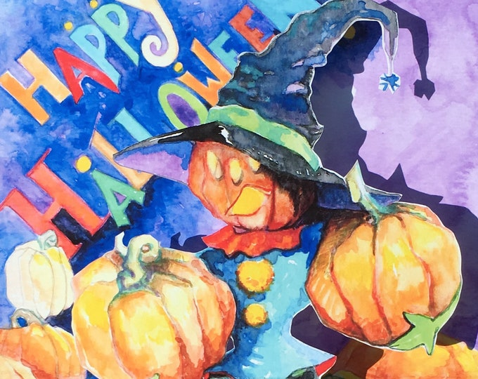 3D PopUp Card of Halloween Pumpkin Person and Witches Hat with Gouache Illustrations and Handmade Construction