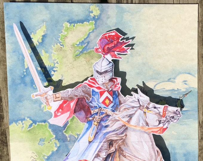 3D PopUp Fathers Day or Birthday or Graduation card of a Knight on Horseback