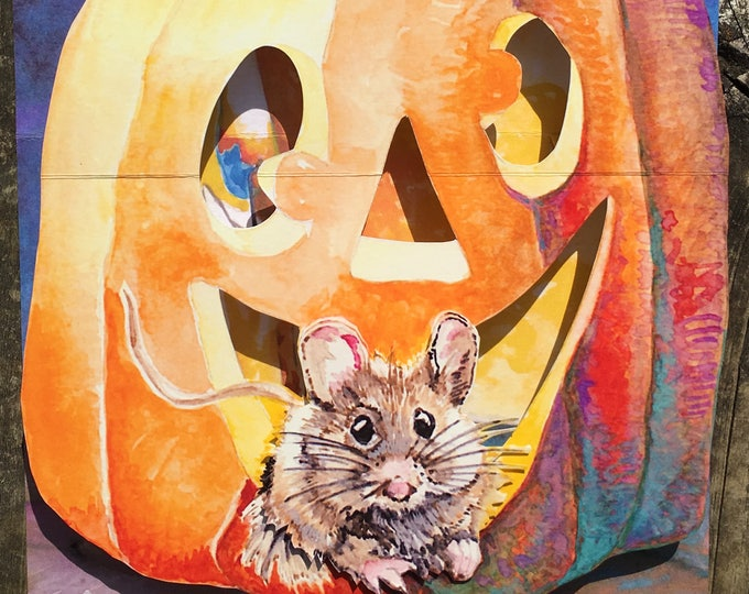 3D PopUp Card of a Halloween Pumpkin with a Mouse Peaking Out at you