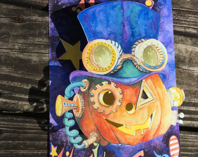 SteamPunk Halloween Pumpkin Top Hat Wearing PopUP 3 D Card
