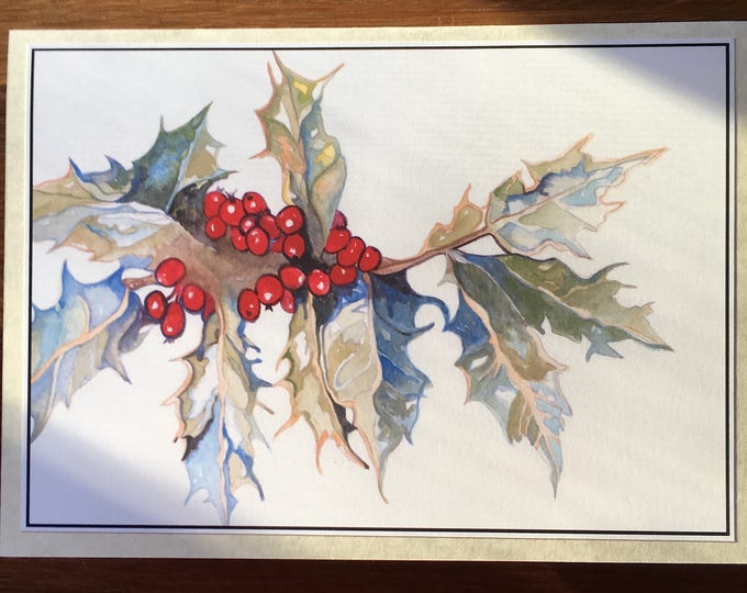 3D PopUp Card of a Bluebird of Happiness Christmas and Holly/Winter Greeting Card or Thank You Christmas Card
