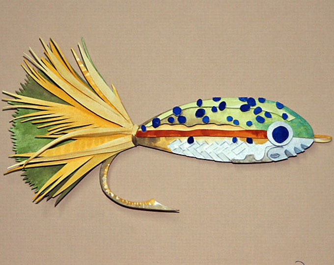 3D Paper Sculpture of a Mylar Fry Fishing Lure