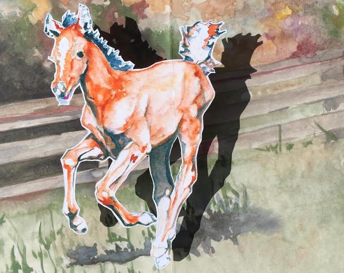 Arabian Foal and Running Pony Birthday, Get Well, Greeting Card