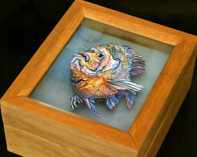 Paper Sculpture Memento Treasure Box or Jewelry Box of a Sunfish