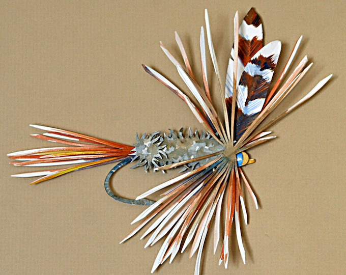 3D Fishing Fly Paper Sculpture of an Adams Fly