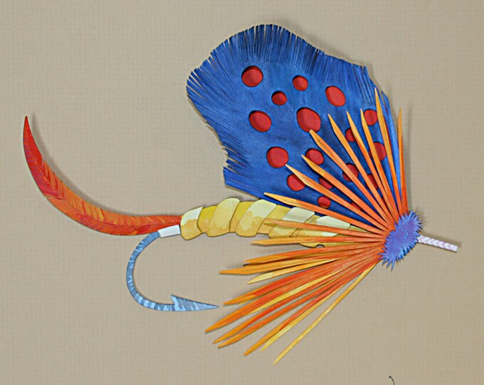 3 D Fishing Fly  of a Red Guinea Paper Sculpture