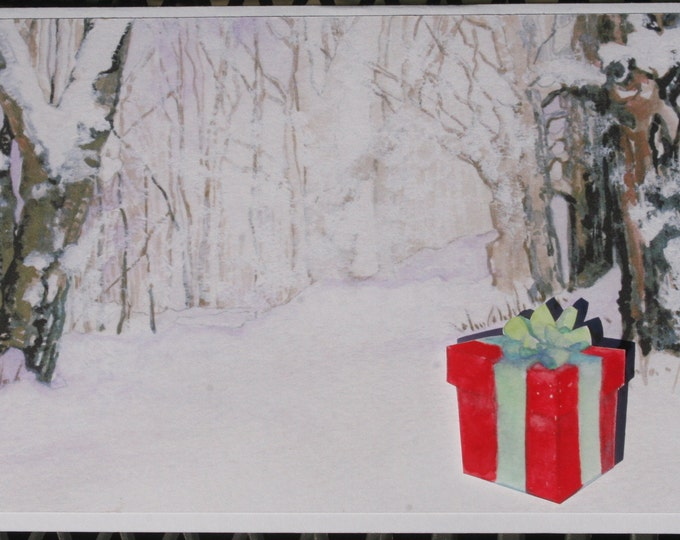 3D PopUp Christmas card or Winter Birthday Card with A Winter Fairy and Snowy Wonderland