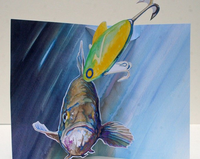 3D PopUp Card of a Fish Swimming About to Catch the Lure Dangling In Front of Him Fishing Card