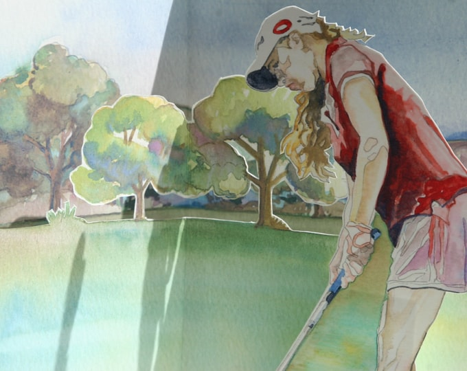 3D PopUp Card of a Lady Golfer on the Putting Green