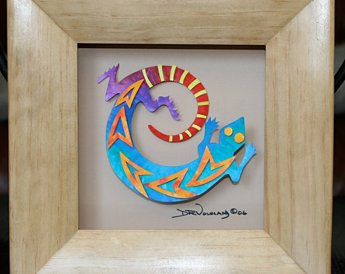 Paper Sculpture of a Southwest Gecko in a Wooden Shadow Box Frame