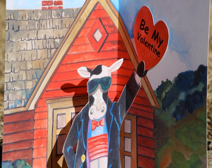 3D Valentine's Day PopUp Card of a Friendly Cow