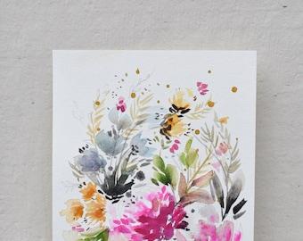 Wild Spring Flower Original Gouache Painting