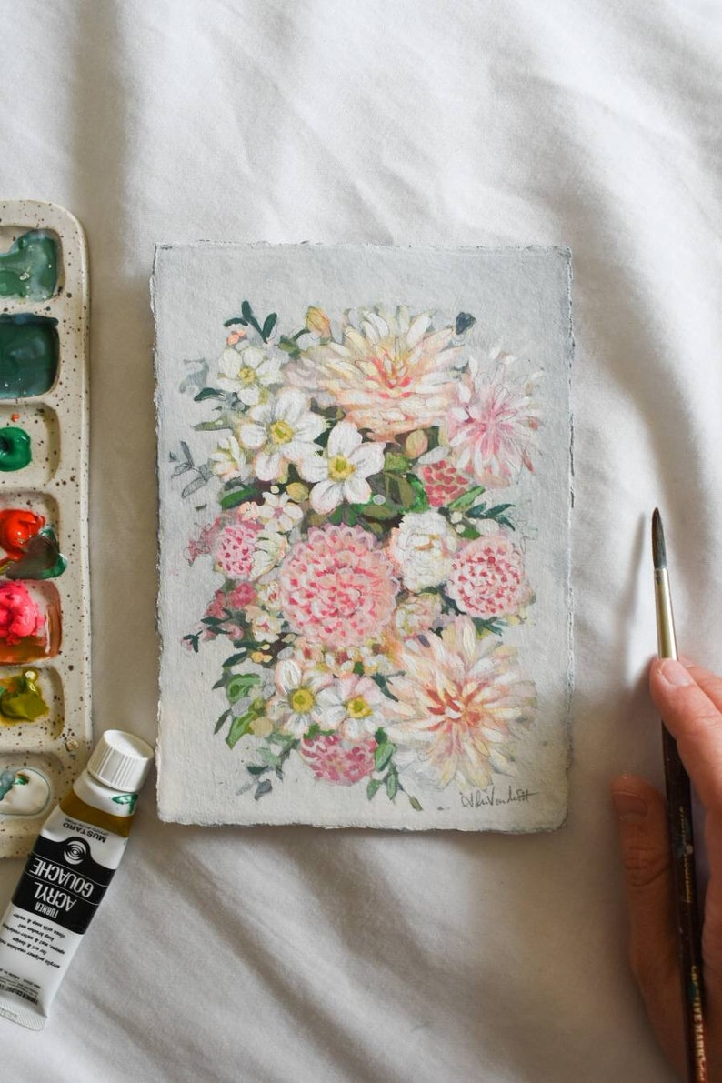 Longing for Spring Gouache painting