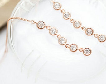 Rapunzel Zircon Rose Gold Earrings