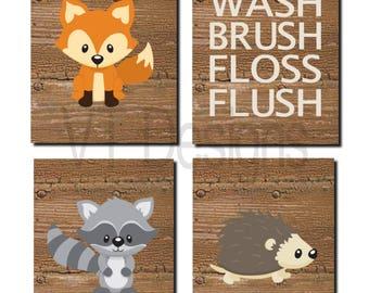 Captivating Woodland Bathroom Art, Kids Bathroom Decor, Forest Animals, Bathroom Rules,  Toddler Art, Raccoon, Fox, Woodland Wall Art, Printable,Set Of 4