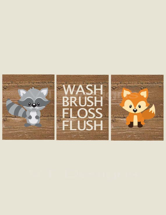 Woodland Bathroom Art Kids Bathroom Decor Forest Animals | Etsy