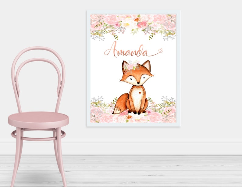 Fox Baby Girl Name Baby Shower Gift Personalized Name ...
