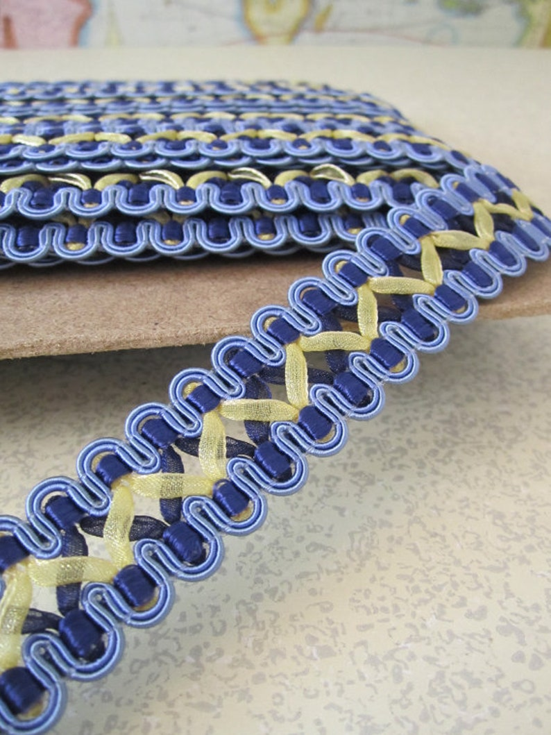 5 Yards  French Gimp Braid Trim  7/8in Wide  Blue and Gold image 0