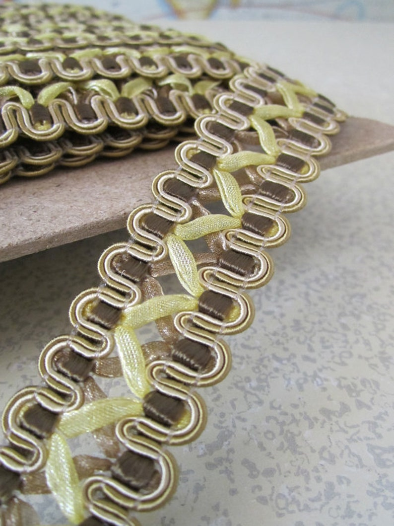 5 Yards  French Gimp Braid Trim  7/8in Wide  Brown and Gold image 0