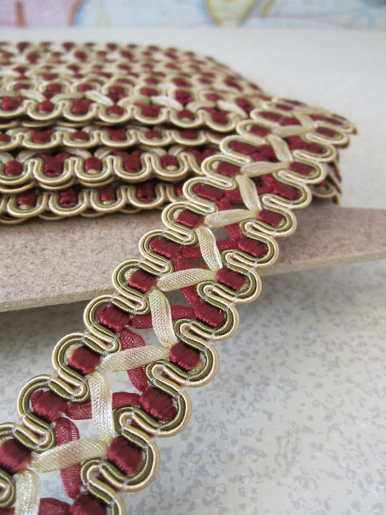 5 Yards  French Gimp Braid Trim  7/8in Wide  Cranberry & image 0