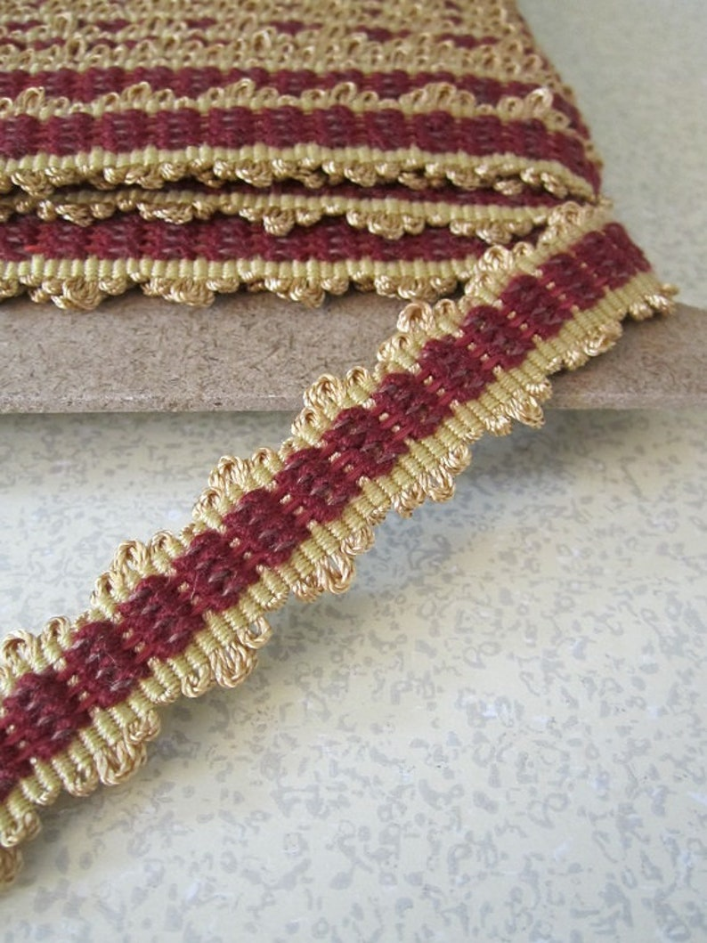 5 Yards  7/8 Inch Wide  Flat Woven Ribbon Trim  Gold and image 0