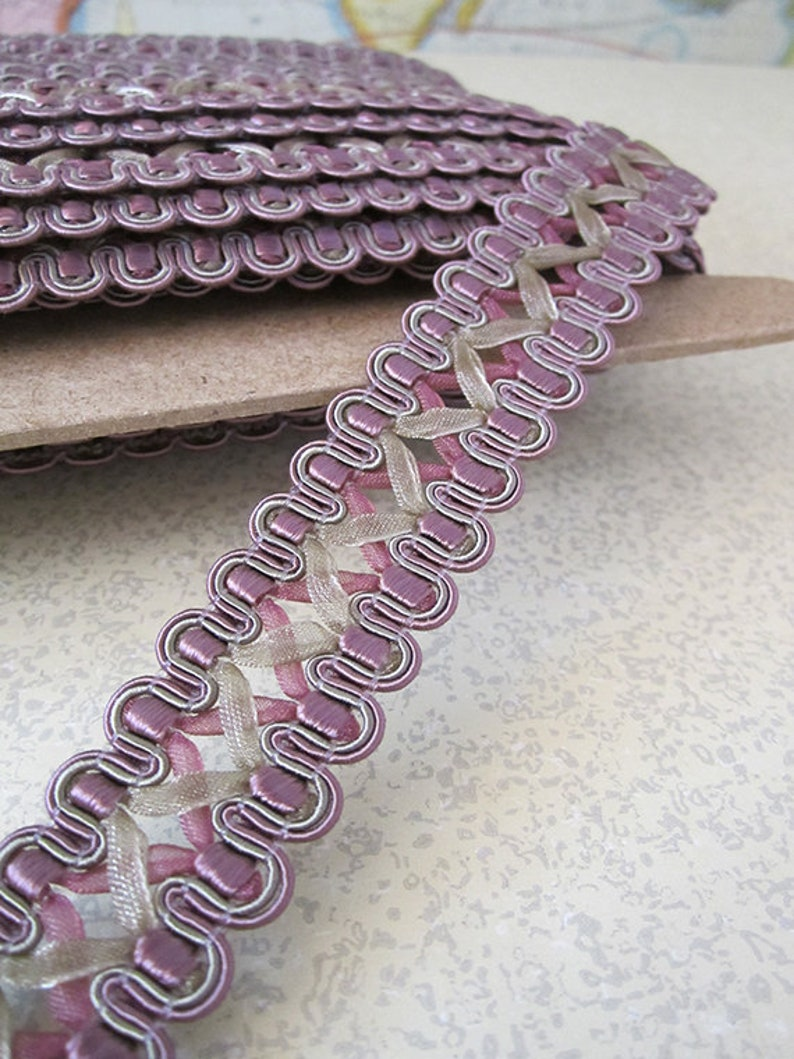 5 Yards  French Gimp Braid Trim  7/8in Wide  Plum and Tan  image 0