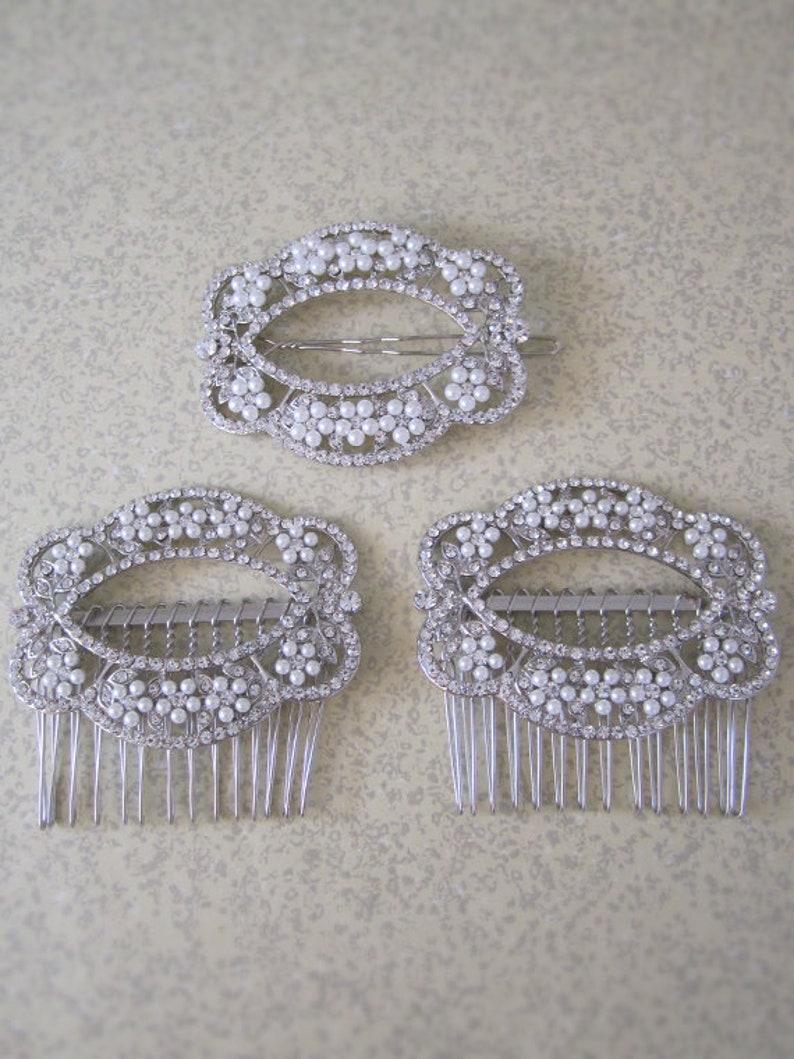 Set of 3 Wedding Hair Accessories  Bride  Bridesmaid  image 0