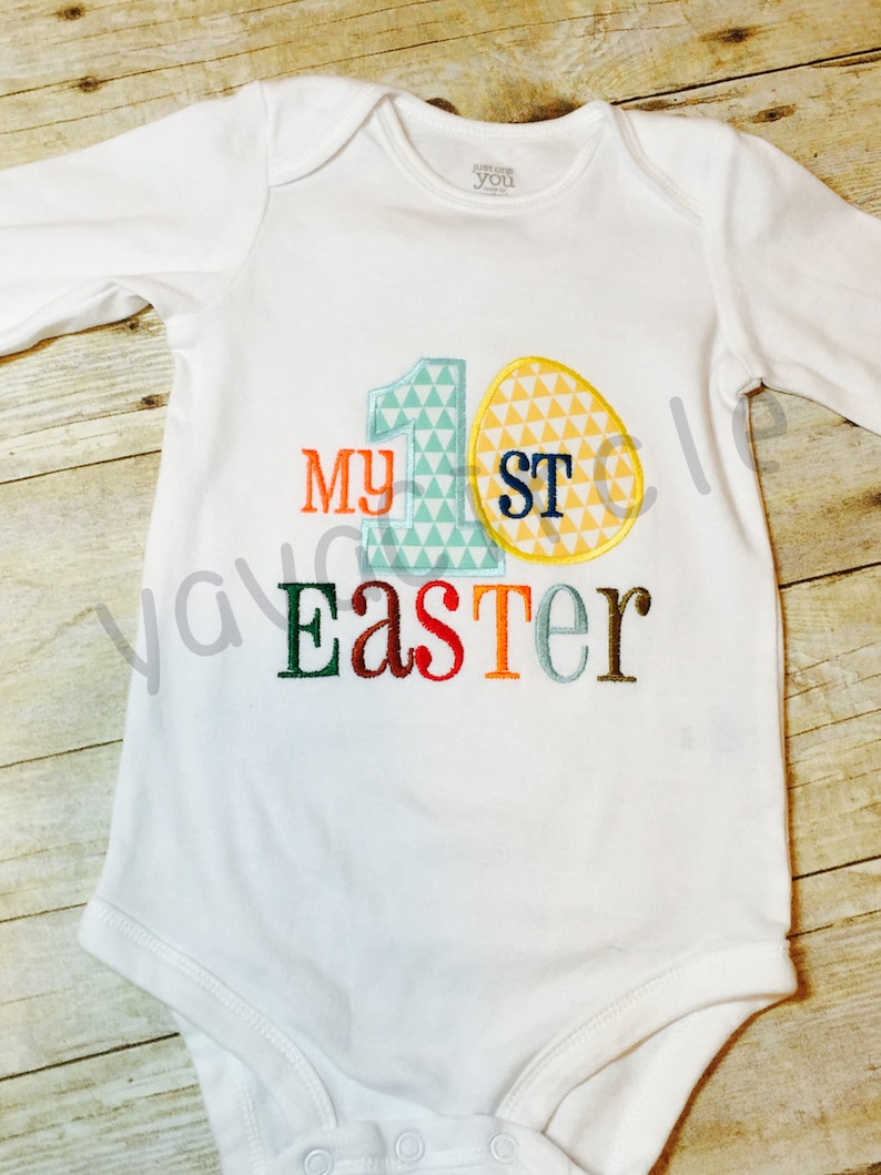 Embroidered Appliqu\u00e9 /'My First Easter/' Bodysuit
