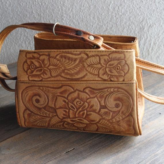 1970s Vintage San Luis Tooled Purse/ 1970s Vintage
