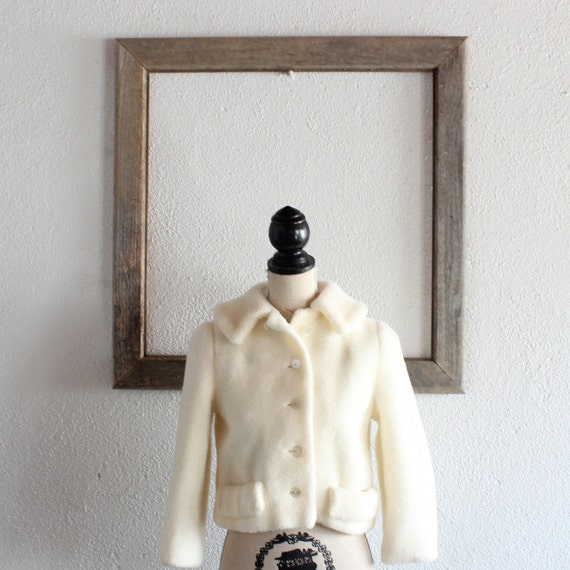 1950's Vintage Cream Faux Fur Cropped Jacket/ 50's