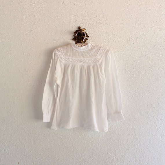 1970s Vintage White Romanian Crochet Gauze Blouse/