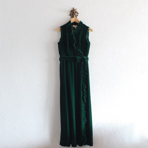 70s Vintage Emerald City Dress/ 70s Green Velvet L