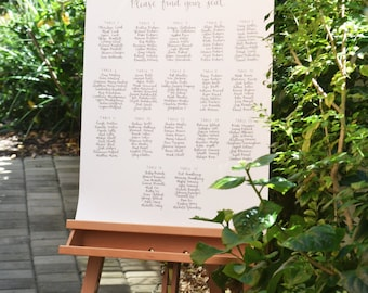 Wedding Seating Chart / Escort Chart / Name List / Welcome Sign / Find Your Seat - Calligraphy by Hand, Hand Written Calligraphy