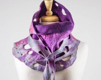 Purple and grey Felt Scarf | felted scarf | Hand Dyed scarf| Nuno felt scarf| Gift | Felted scarves | Lacy scarf| silk | Unique Style