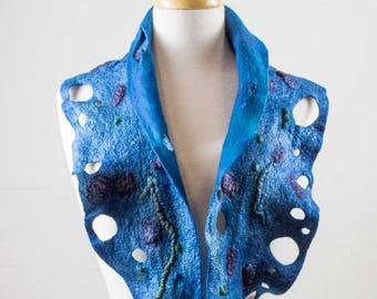 Blue Felt Scarf and Silk | felted scarf | Hand Dyed scarf| Nuno felt scarf| Long scarf| skinny scarf| Lacy scarf| silk Unique Style