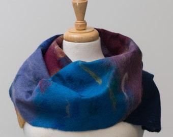 Sale 40% Off Felted Scarf, Nuno felt, Blue, Maroon, turquoise, lavender, Green,  Merino wool,felt, Soft and warm, Light weight,