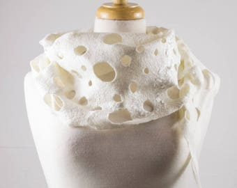 White Felt Scarf | felted scarf | Hand Dyed scarf| Nuno felt scarf| Gift | Felted scarves | Lacy scarf| silk | Unique Style