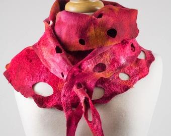 Red Felt Scarf | felted scarf | Hand Dyed scarf| Nuno felt scarf| Gift | Felted scarf | Lacy scarf| silk | Unique Style| Orange